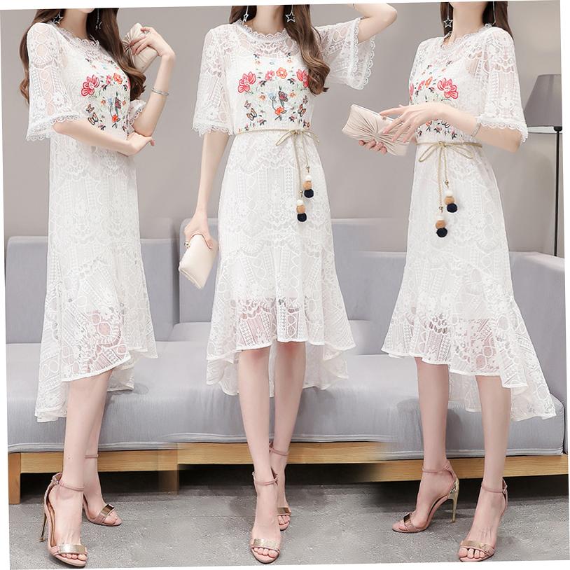 2017夏装新款女装修身蕾丝短袖连衣裙女刺绣碎花裙子韩版夏季长裙