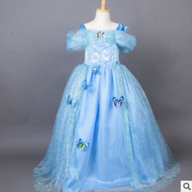 儿童演出服冰雪奇缘连衣裙艾莎女王灰姑娘公主裙女童礼服夏季童裙