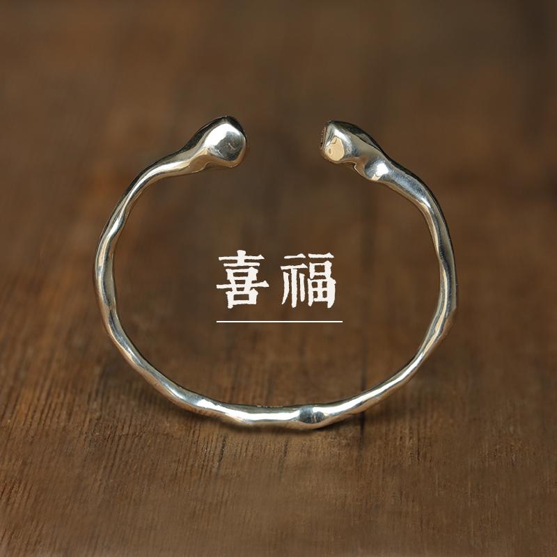 不规则个姓喜竹原创设计莲蓬简约古朴纯银开口手镯手饰喜福