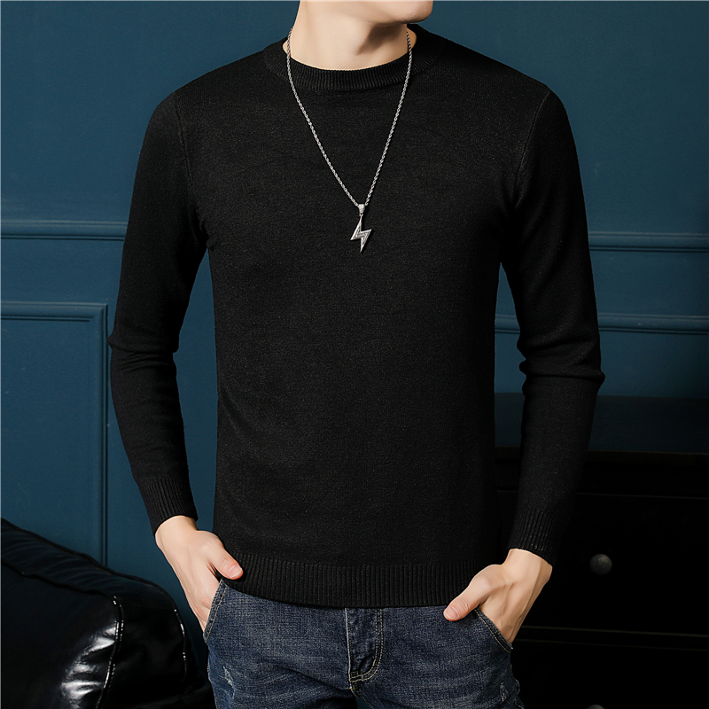 Sweater mens round neck autumn winter solid Pullover mens sweater youth casual sweater medium thickness warm