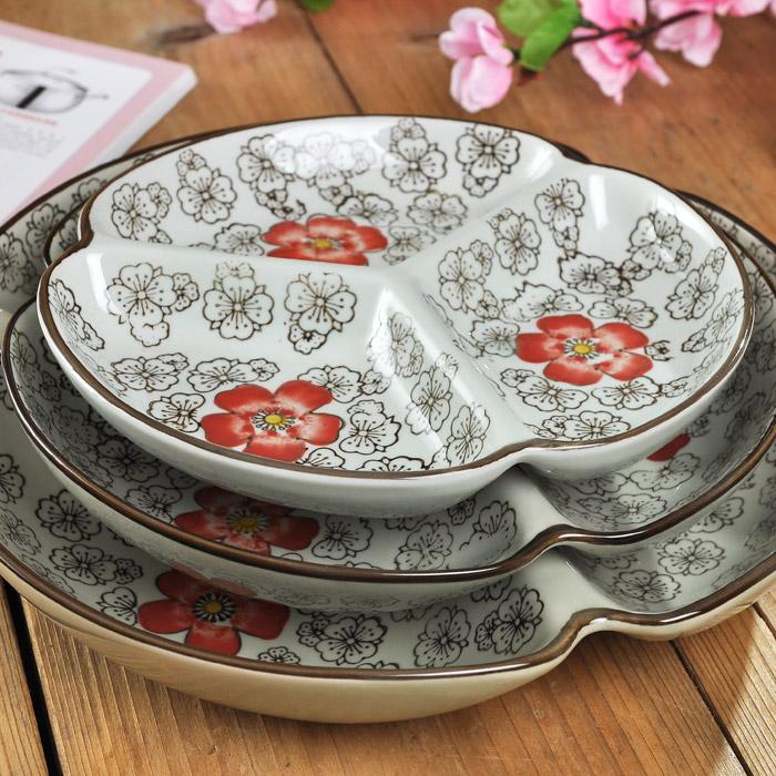 陶瓷水果盘 创意分格拼盘 家用客厅三格小吃碟子多格干果盘瓜子盘