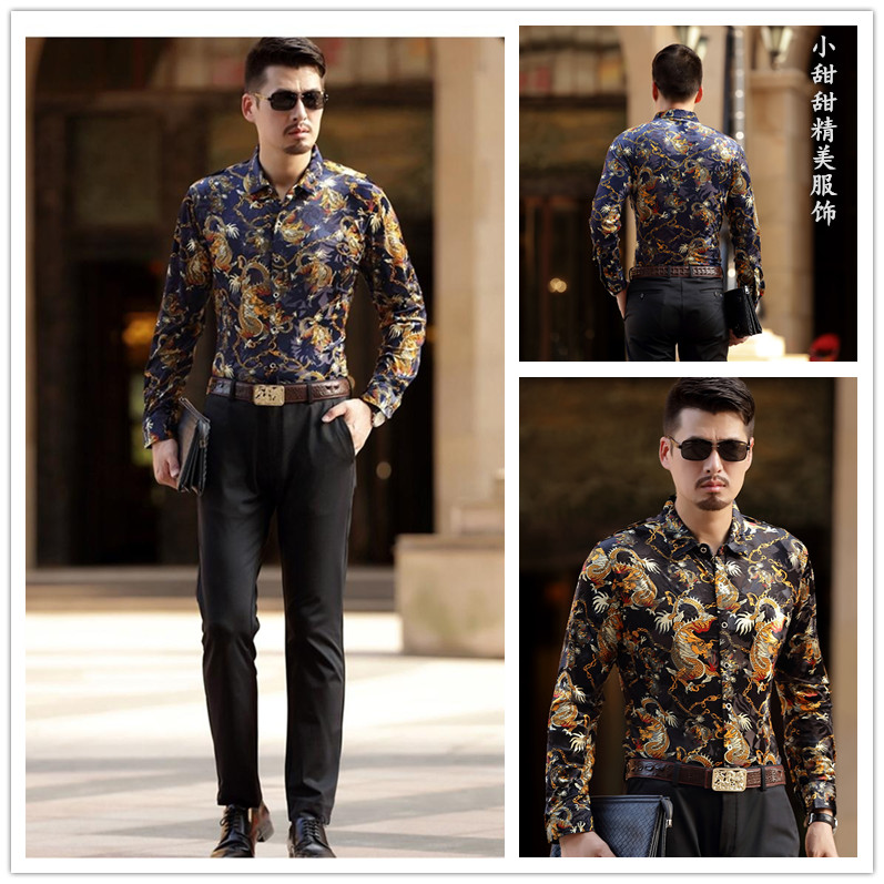Large size young hairstylist spring mens long sleeve velvet inch shirt Chinese style dragon jacquard Shirt Top