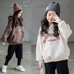 女童加绒卫衣冬装新款韩版中大童加厚保暖洋气上衣儿童羊羔绒套衫