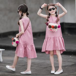 親子裝母女連衣裙夏季棉麻背心裙韓版童裝女大童荷葉邊度假長裙潮
