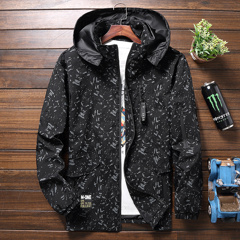 Spring oversize jacket for mens fattening and casual looseness thin windbreaker fatmans coat extra large
