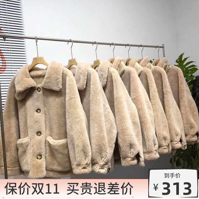 100绵羊毛立领颗粒绒羊羔绒羊剪绒大衣韩冬款皮毛一体皮草外套女