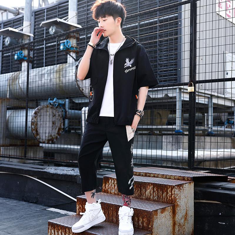 套装男 2020夏季男生帅气两件套装夹克外套韩版潮流 一套T774-p50
