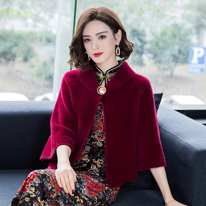 Autumn and winter mink women can wear shawls and cloaks with wedding mothers dress, small coat, wedding with cheongsam