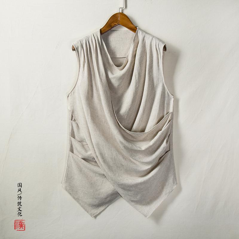 中国风棉麻男士无袖男士T恤T201P65(t201)