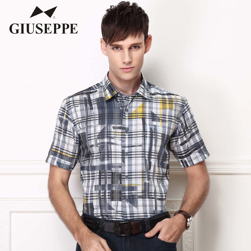 George White Short Sleeve Shirt summer new thin mens half sleeve shirt Grey Stripe geometric shirt