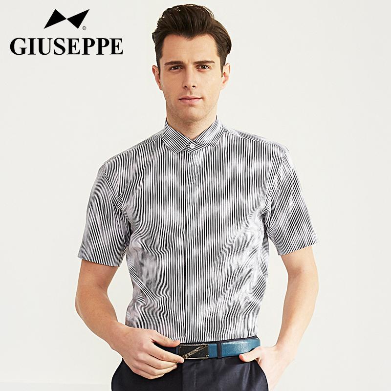 George White Shirt 2016 summer new business casual shirt fashion stripe short sleeve mens cotton shirt