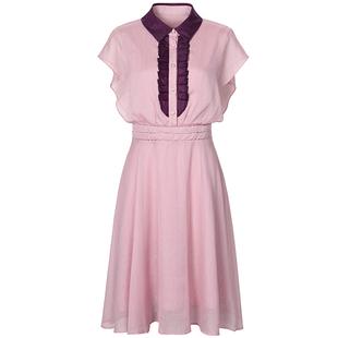 歐洲站夏裝女2020新款歐貨潮時尚粉色收腰木耳邊無袖甜美連衣裙