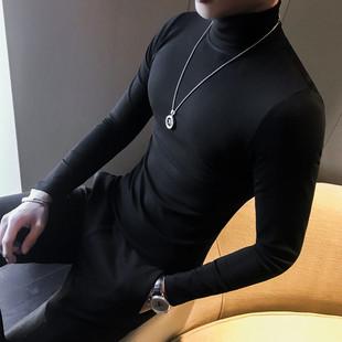春季款男士?#21487;?#25171;底衫半高领青年T恤修身中领抓绒秋衣百搭上衣潮