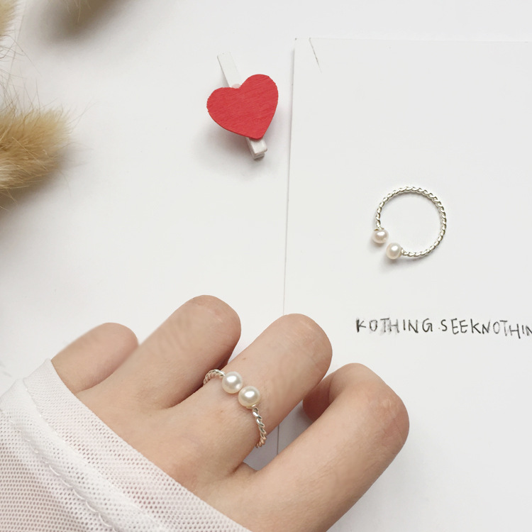 S925 Sterling Silver Plain Silver Antique twist pearl ring open twist flower ring Japanese and Korean womens fashion tail ring jewelry