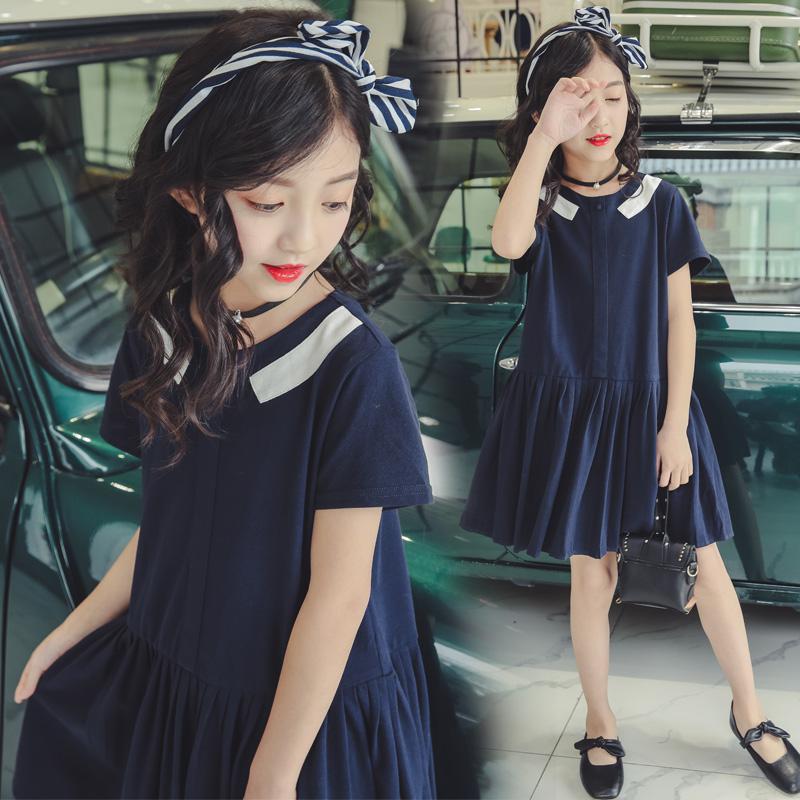 14岁中女童装连衣裙子12女孩夏装大码海军风10-11-13岁15大童女装