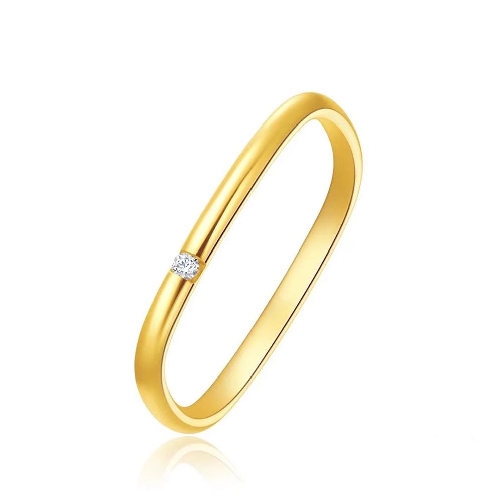 方形戒指女轻奢小众精致大福素圈简约18K黄金小钻石专柜礼盒周生