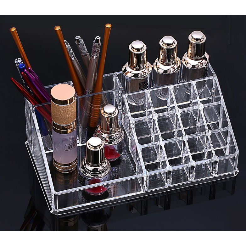 Lipstick, eyebrow pencil, embroidery, transparent cosmetic tools, acrylic box, jewelry, coloring material rack.