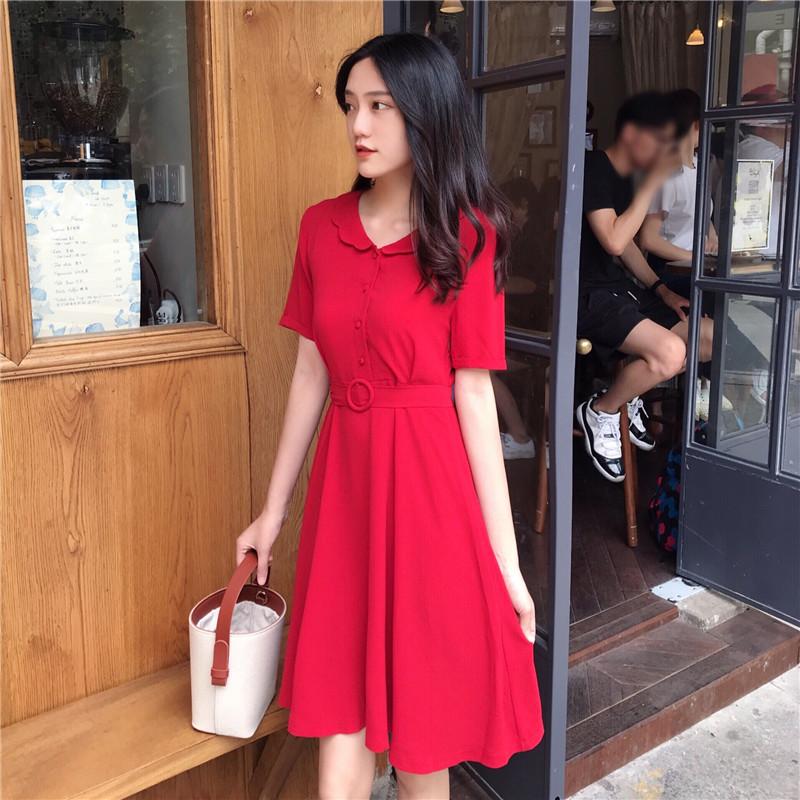复古高腰赫本小红裙气质极简主义连衣裙冷淡风女装学生港味chic夏