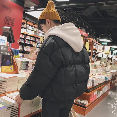 2017冬装男士韩版纯色宽松连帽棉衣棉袄加厚外套 M06-P115
