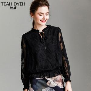 欧货绣花蕾丝小衫镂空雪纺上衣时尚气质洋气黑色衬衫女士2019秋装