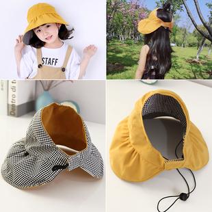 儿童帽子夏薄款大帽檐防晒帽空顶帽亲子女童男童宝宝遮阳帽太阳帽