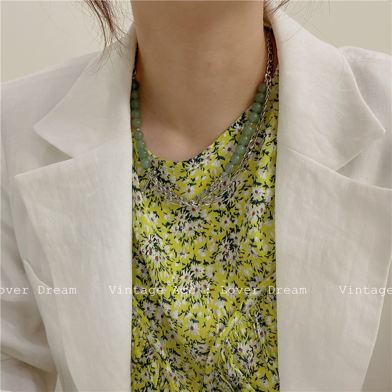 Korean retro transparent Green Necklace Korean version ins wind Silver Chain Necklace girls Green Beaded Necklace