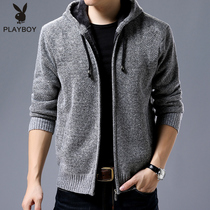Playboy Clothing man Autumn Winter plus velvet thickened mens cardigan hooded jacket Korean version trend top man