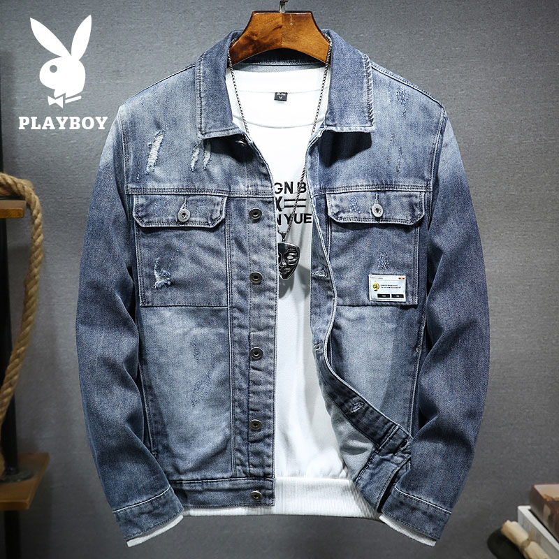 Playboy spring and summer denim jacket men's trendy brand European and American street thin denim jacket Korean style trendy jacket