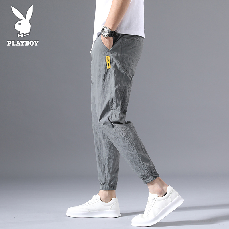 Playboy casual pants men's summer ice thin Korean Trend summer versatile loose 9-point Leggings