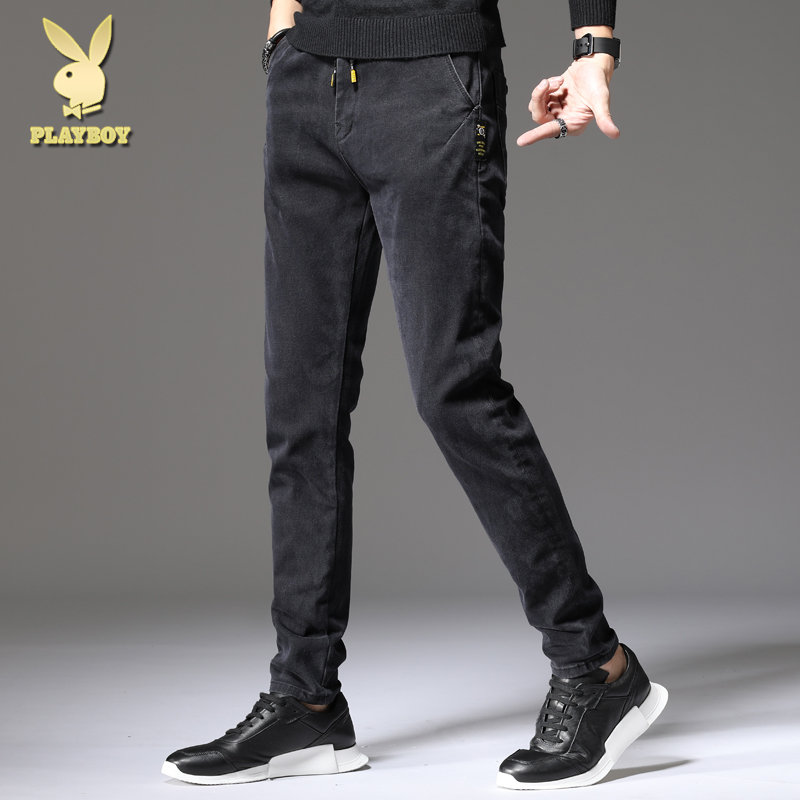 Playboy spring jeans men's slim Korean Trend small foot casual trend brand spring and autumn long pants men