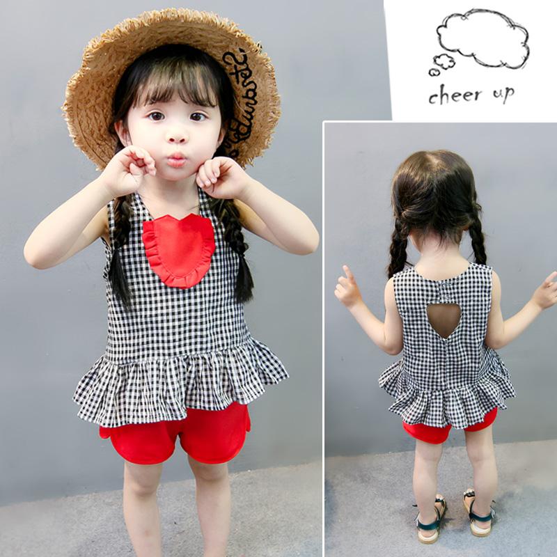 女宝宝夏装套装2018新款韩版潮0一1-2-3岁女孩洋气时尚女童两件套