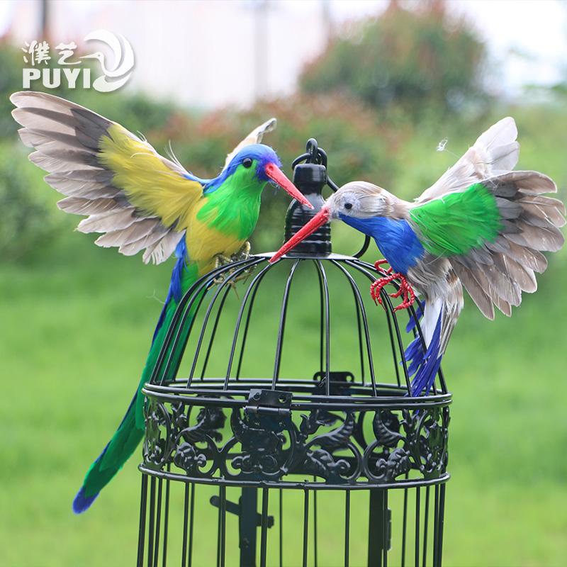 新品仿真蜂鸟翠鸟羽毛鸟家居橱窗陈美摆件鸟类模型工艺品摄影道具