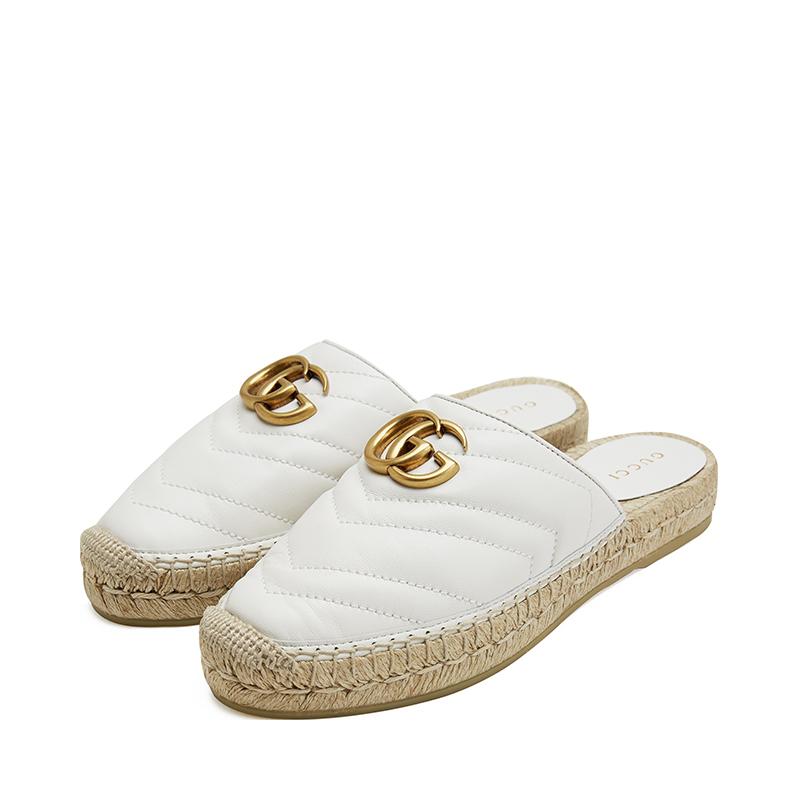 新款Gucci/古驰女鞋草编底羊皮渔夫鞋舒适休闲凉拖鞋551881 BKO00