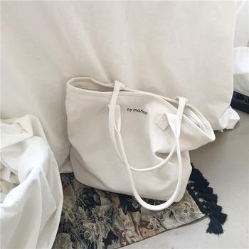 韩版简约ins大容量帆布包女单肩慵懒风文艺小清新学生手提购物袋