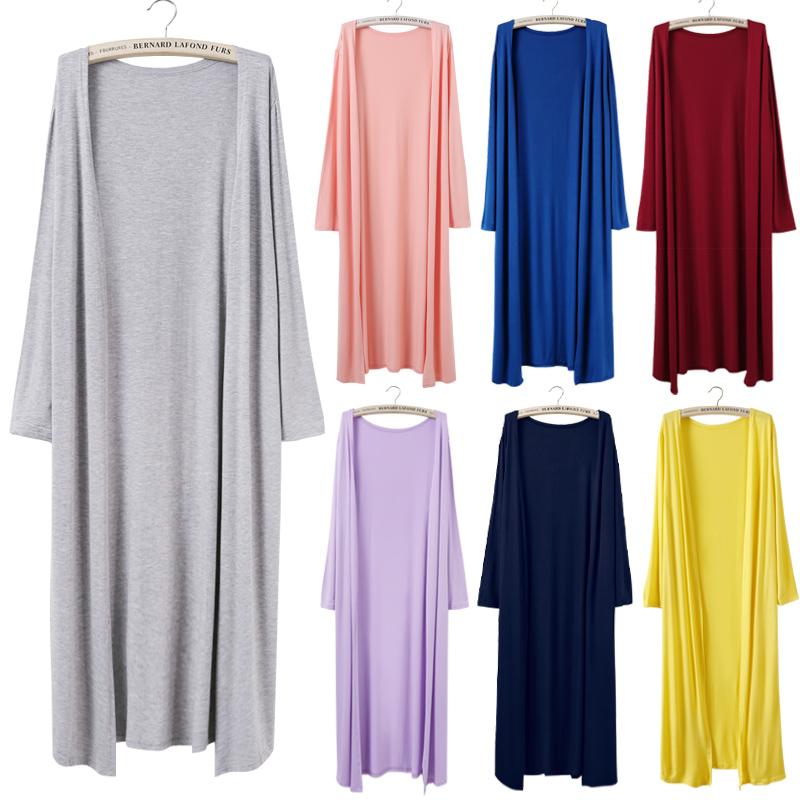 2018春季新款女装长袖外搭长款开衫薄款外套防晒衣披肩空调衫大码