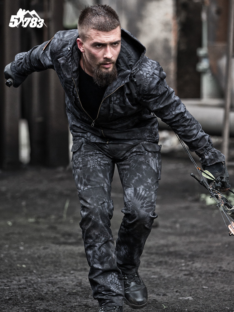 51783 Army fans outdoor python pattern camouflage suit male waterproof wear slim commando tactical combat training clothing