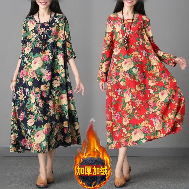 2018秋冬季新款民族风大码女装复古棉麻长袍加绒加厚长袖连衣裙