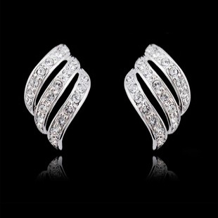 Authentic jewelry temperament flash diamond earrings without pierced ear clip earrings female crystal wings