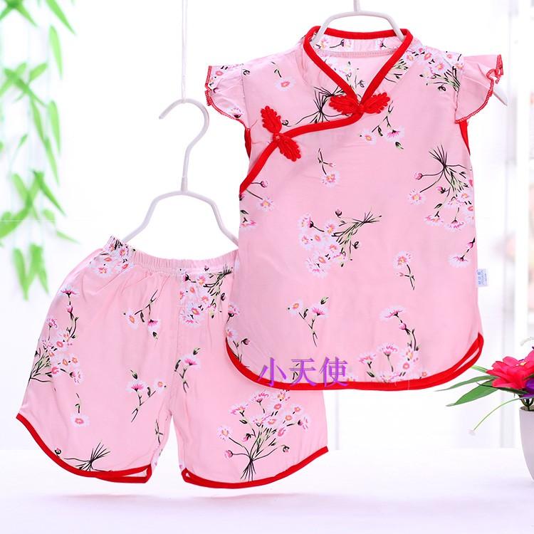 绵绸女童旗袍套装夏季短裤短袖套装女婴两件套小女孩中国风唐装