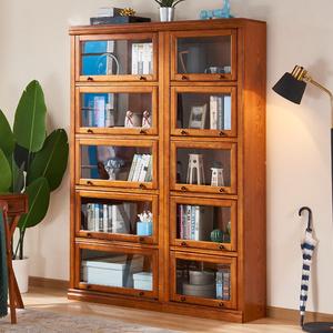 美式实木书柜带门玻璃门书橱置物架