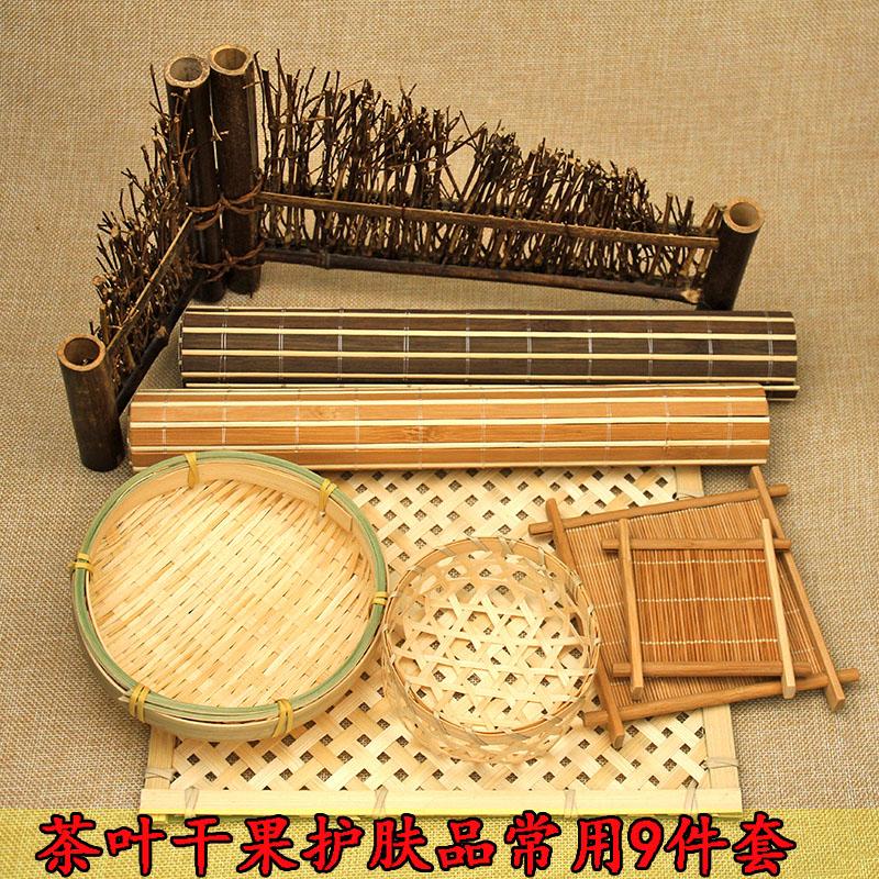 竹垫复古迷你小茶杯垫竹篱笆食品化妆品拍摄背景摄影道具套餐摆件