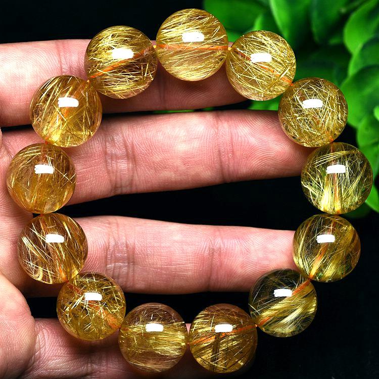纯天然金发晶手链男女招财 金丝钛晶黄水晶手串发金 一物一图
