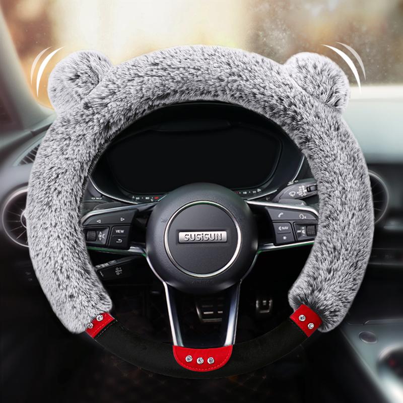 汽车方向盘套女冬季短毛绒通用型四季韩国可爱防滑把套男大众速腾