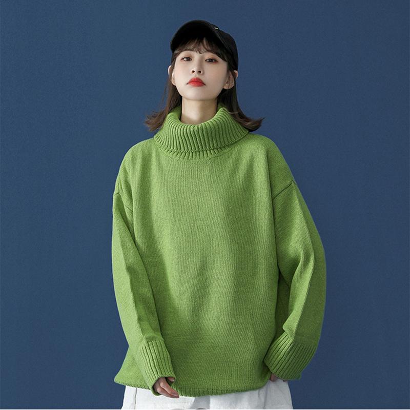 秋冬季新款毛衣女高领套头针织衫韩版潮流宽松慵懒风学生外穿上衣
