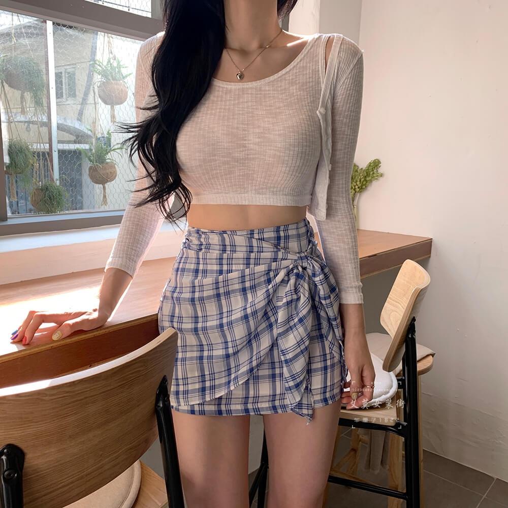 格子半身裙2019新高腰包臀裙蝴蝶结ulzzang短裙奶茶软妹格子裙夏