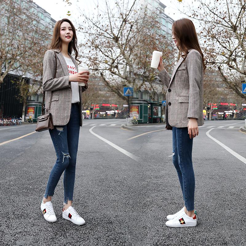 Plaid Blazer womens Korean version 2020 spring and autumn new leisure coat retro slim mesh red check chic suit