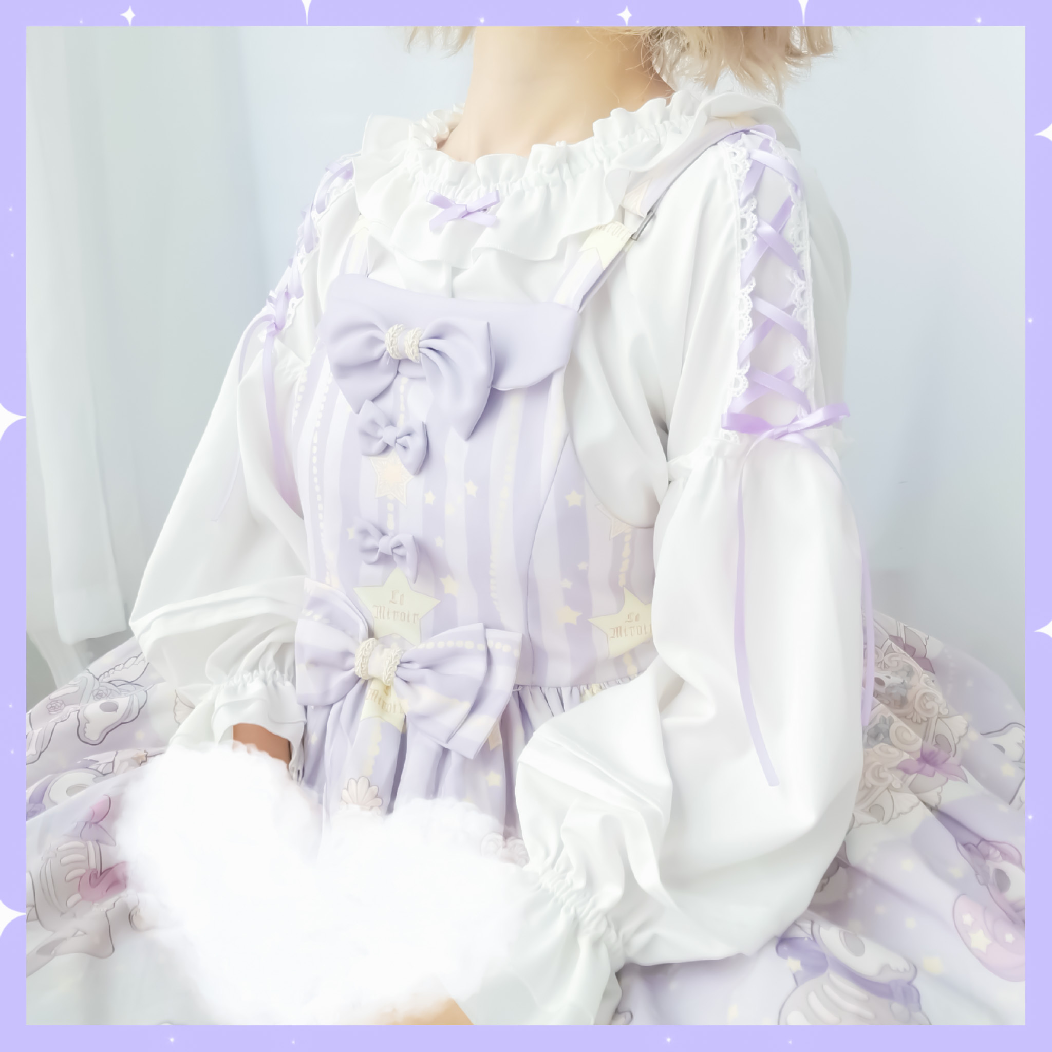 Felice fish original small gentle Lolita mid long sleeve foam sleeve with a cute one word collar
