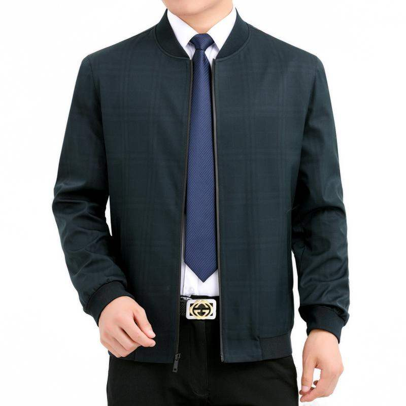 High end middle-aged mens autumn jacket stand collar business casual mens jacket fathers oversize jacket