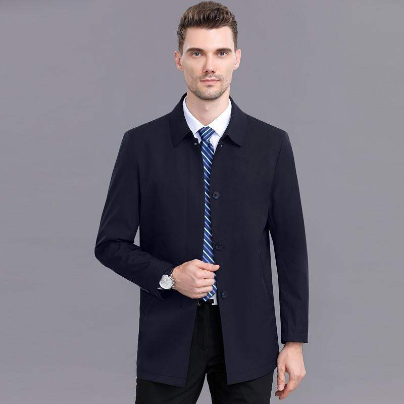 Plus size jacket mens spring and autumn extra large fat man middle-aged and elderly dads Lapel windbreaker coat