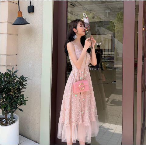 Spring and summer heavy handmade sequins very fairy French minority super fairy temperament SLING DRESS F508